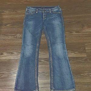 Silver Suki Jeans Back Flap pocket 33 x 32 flare leg